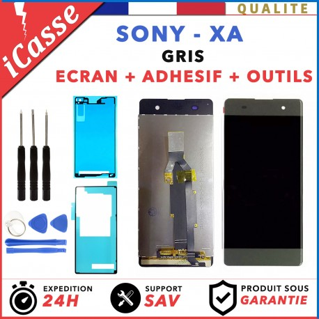 ECRAN LCD + VITRE TACTILE pour SONY XPERIA XA F3111 F3113 GRIS OUTILS + ADHESIF