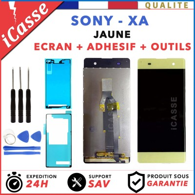 ECRAN LCD + VITRE TACTILE pour SONY XPERIA XA F3111 F3113 JAUNE OUTILS + ADHESIF