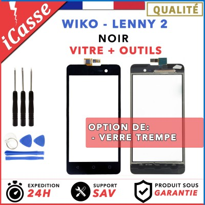 Vitre / Ecran tactile Wiko Lenny 2 Noir + Adhésif + Outils + Protection
