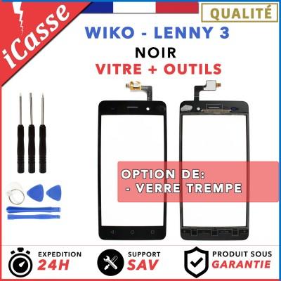 Vitre / Ecran tactile Wiko Lenny 3 Noir + Adhésif + Outils + Protection