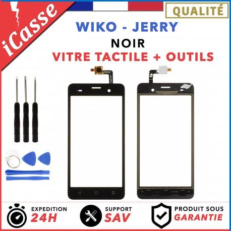 Vitre Ecran tactile Wiko Jerry Noir + Adhésif / Outils / Protection