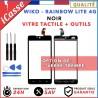 Vitre/Ecran tactile Wiko Rainbow Lite 4G Noir + Outils / Protection