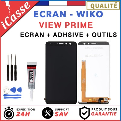 ECRAN LCD + VITRE TACTILE pour WIKO VIEW PRIME NOIR + OUTILS + ADHESIVE