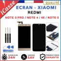 Ecran Xiaomi Redmi Note 3 Pro / 4 / 4X / 5 Noir/Blanc/Or Vitre Tactile + ADHESIF