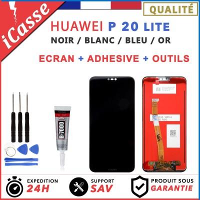 ECRAN LCD + VITRE TACTILE POUR HUAWEI P20 LITE / NOVA 3E - NOIR BLANC BLEU OU OR