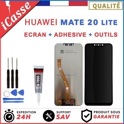 ECRAN LCD + VITRE TACTILE HUAWEI MATE 20 LITE NOIR + OUTILS + ADHESIVE COLLE