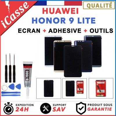 ECRAN HUAWEI HONOR 9 LITE + VITRE TACTILE NOIR / BLANC / BLEU / OR + COLLE OUTLS