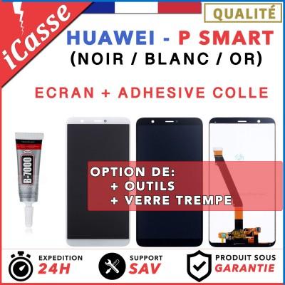 """Ecran Huawei P Smart PSmart 5.65"""" vitre tactile + LCD BLANC NOIR OR + COLLE"""