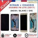 ECRAN LCD AVEC CHASSIS COMPLET POUR HUAWEI P8 LITE 2017 NOIR DORÉ OU BLANC