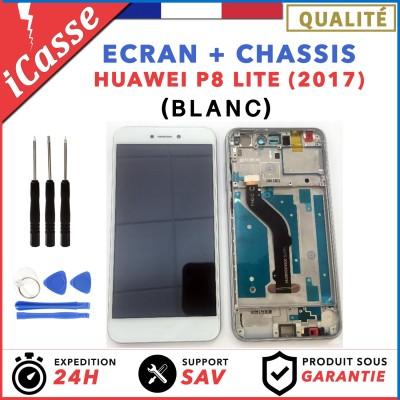 ECRAN HUAWEI P8 LITE 2017 BLANC LCD + VITRE TACTILE SUR CHASSIS ORIGINAL