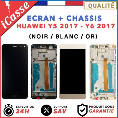 ECRAN LCD + COMPLETE CHASSIS HUAWEI Y5 2017 / Y6 2017 NOIR / BLANC / OR + OUTILS