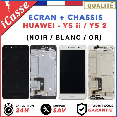 ECRAN LCD + COMPLETE CHASSIS HUAWEI Y5 ii - Y5 2 - NOIR / BLANC / OR + COLLE