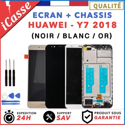 ECRAN COMPLET + CHASSIS pour HUAWEI Y7 2018 Y7 PRIME 2018 NOIR BLANC OR + OUTILS