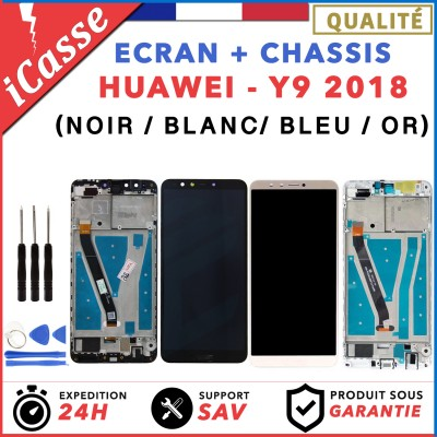 ECRAN COMPLET + CHASSIS pour HUAWEI Y9 2018 Honor 7X NOIR BLANC OR BLEU + OUTILS