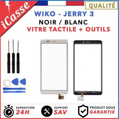 Ecran Vitre tactile Wiko Jerry 3 Noir / Blanc + Outils