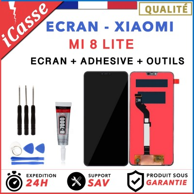 ECRAN LCD VITRE TACTILE POUR XIAOMI MI 8 LITE NOIR + Outils + colle b7000