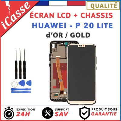 ECRAN LCD HUAWEI P20 LITE COMPLETE AVEC CHÂSSIS OR / GOLD + OUTILS