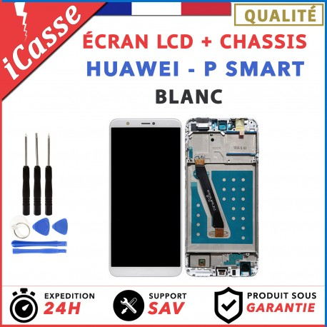 ECRAN LCD COMPLETE + FRAME CHASSIS HUAWEI P SMART FIG-LX1 BLANC + outils