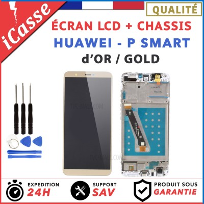 ECRAN LCD COMPLETE + FRAME CHASSIS HUAWEI P SMART FIG-LX1 OR / GOLD + outils