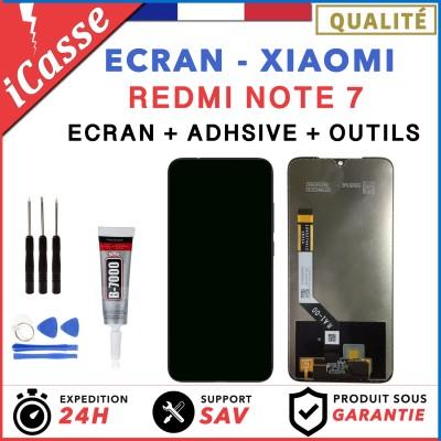 ECRAN LCD + VITRE TACTILE POUR XIAOMI REDMI NOTE 7 NOIR + OUTILS + COLLE