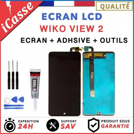ECRAN LCD + VITRE TACTILE pour WIKO VIEW 2 NOIR + OUTILS + COLLE