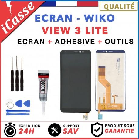 ECRAN LCD + VITRE TACTILE pour WIKO VIEW 3 LITE NOIR + OUTILS + COLLE