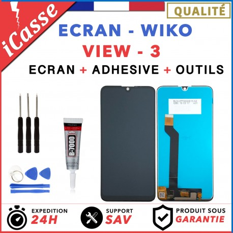 ECRAN LCD + VITRE TACTILE pour WIKO VIEW 3 NOIR + OUTILS + COLLE