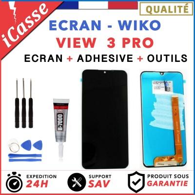 ECRAN LCD + VITRE TACTILE pour WIKO VIEW 3 PRO NOIR + OUTILS + COLLE