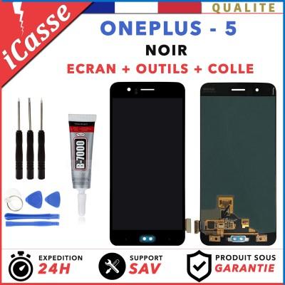 ECRAN LCD + VITRE TACTILE ONEPLUS 5 A5000 NOIR + OUTILS + COLLE
