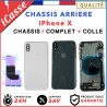 Chassis Complet Coque Arriere iPhone X NOIR BLANC/ARGENT + COLLE