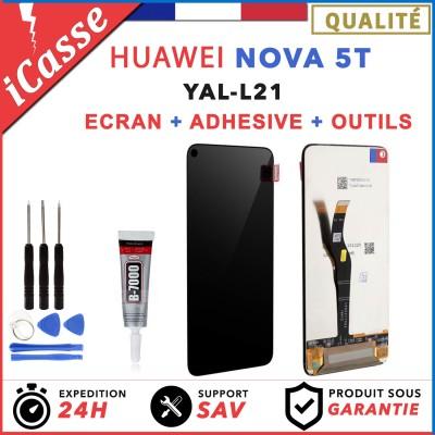 ECRAN LCD + VITRE TACTILE pour HUAWEI NOVA 5T YAL-L21 NOIR + OUTILS + COLLE
