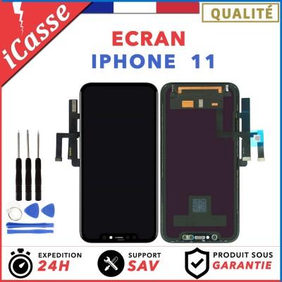 ECRAN IPHONE 11 NOIR VITRE TACTILE + LCD ASSEMBLÉ SUR CHASSIS + OUTILS