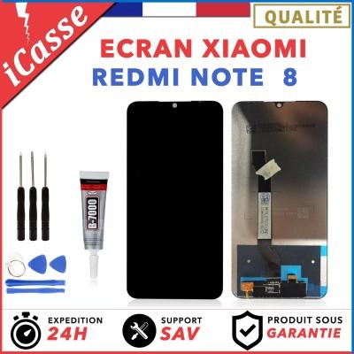 ECRAN LCD + VITRE TACTILE POUR XIAOMI REDMI NOTE 8 NOIR + OUTILS + COLLE