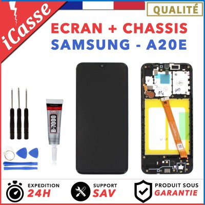 ECRAN COMPLET SAMSUNG GALAXY A20e SM-A202F NOIR + CHASSIS + OUTILS + COLLE
