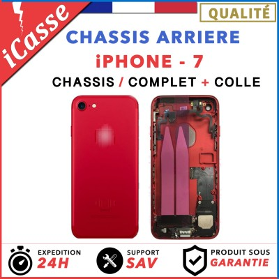 Chassis Complet Coque Arriere iPhone 7 ROUGE + COLLE
