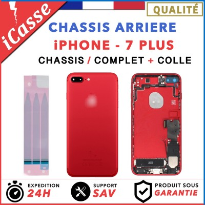 Chassis Complet Coque Arriere iPhone 7 PLUS ROUGE + COLLE