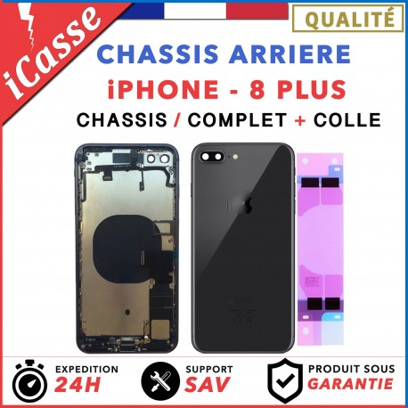 Chassis Complet Coque Arriere iPhone 8 PLUS NOIR + COLLE