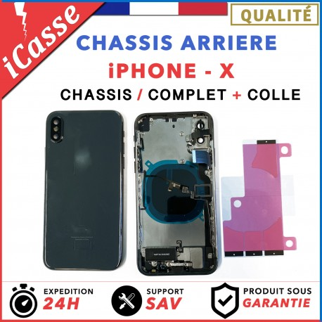 Chassis Complet Coque Arriere iPhone X NOIR + COLLE
