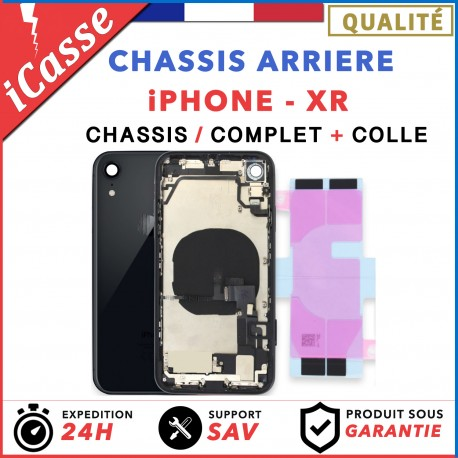 Chassis Complet Coque Arriere iPhone XR NOIR + COLLE