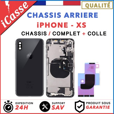Chassis Complet Coque Arriere iPhone XS NOIR + COLLE