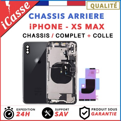 Chassis Complet Coque Arriere iPhone XS MAX NOIR + COLLE