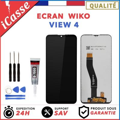 ECRAN + VITRE TACTILE pour WIKO VIEW 4 NOIR + OUTILS + COLLE
