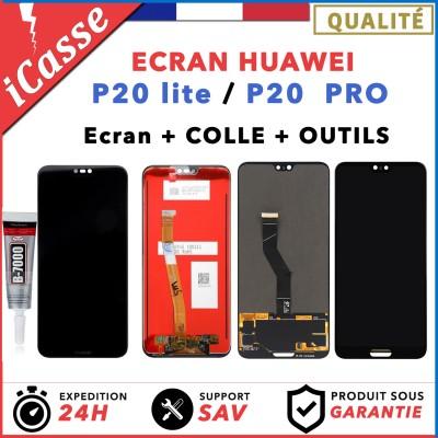 Ecran LCD complet Huawei P20 Lite / P20 Pro noir vitre tactile + COLLE + OUTILS