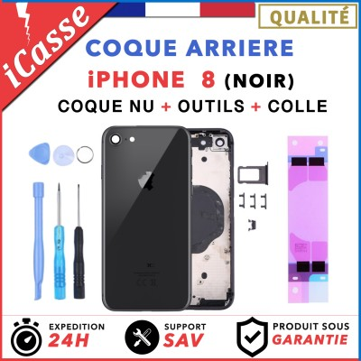 Chassis Arriere pour iPhone 8 NOIR - Chassis Coque nu + COLLE