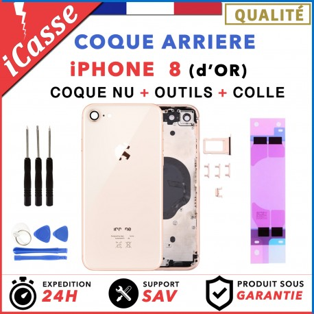 Chassis Arriere pour iPhone 8 OR d'or GOLD - Chassis Coque nu + COLLE