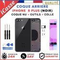 Chassis Arriere pour iPhone 8 PLUS Noir - Chassis Coque nu + COLLE