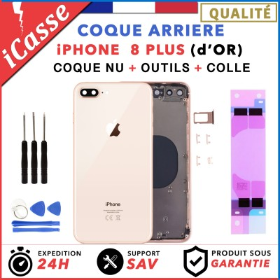 Chassis Arriere pour iPhone 8 PLUS OR d'OR Gold - Chassis Coque nu + COLLE