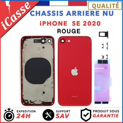 Chassis Arriere pour iPhone SE 2020 Rouge - Chassis Coque nu + COLLE