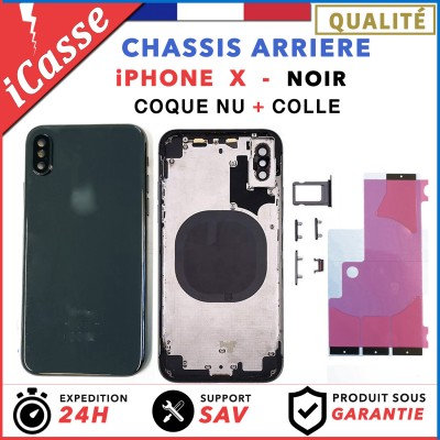 Chassis Arriere pour iPhone X NOIR Chassis Coque nu + COLLE