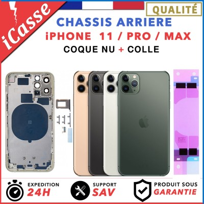Chassis Arriere Coque nu iPhone 11 / 11 PRO 11 PRO MAX Gris Blanc Or Vert Violet